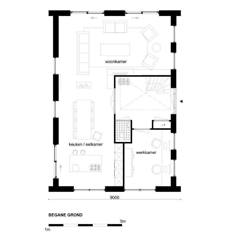 Casco woning moderne notariswoning begane grond for Wat kost een huis laten schilderen
