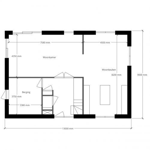 Casco woning moderne villa 1 0 woonkamer for Wat kost eigen huis bouwen